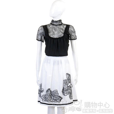 SOCIETA' DEL SILE 白色花繪圖紋裙