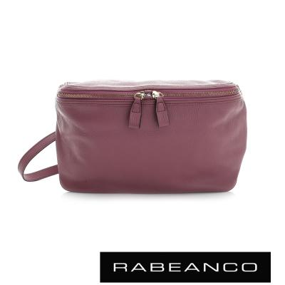 RABEANCO-迷時尚系列荔枝紋牛皮立體三角包-紫紅