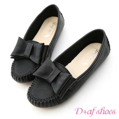 D+AF 俏皮可愛‧MIT大蝴蝶結莫卡辛豆豆鞋*黑