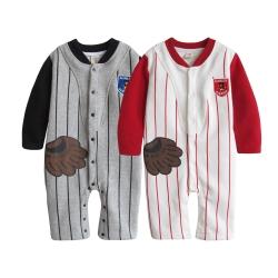 baby童衣 棒球手套假2件式前開連身衣爬服 37012