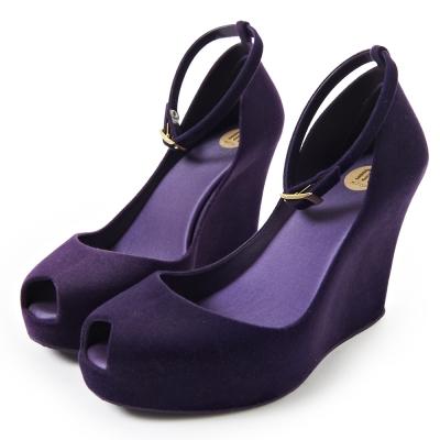 Melissa-復古厚底絨毛魚口鞋-紫