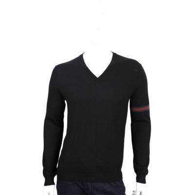 GUCCI 黑色織帶設計V領羊毛針織長袖上衣(100%WOOL)