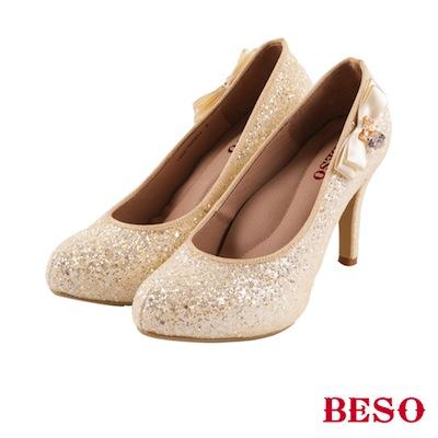 BESO 璀璨典藏 緞帶蝴蝶結愛心水鑽婚鞋~米黃