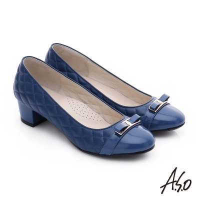 A.S.O 優雅美型 真皮小香風菱格紋粗跟鞋 藍色
