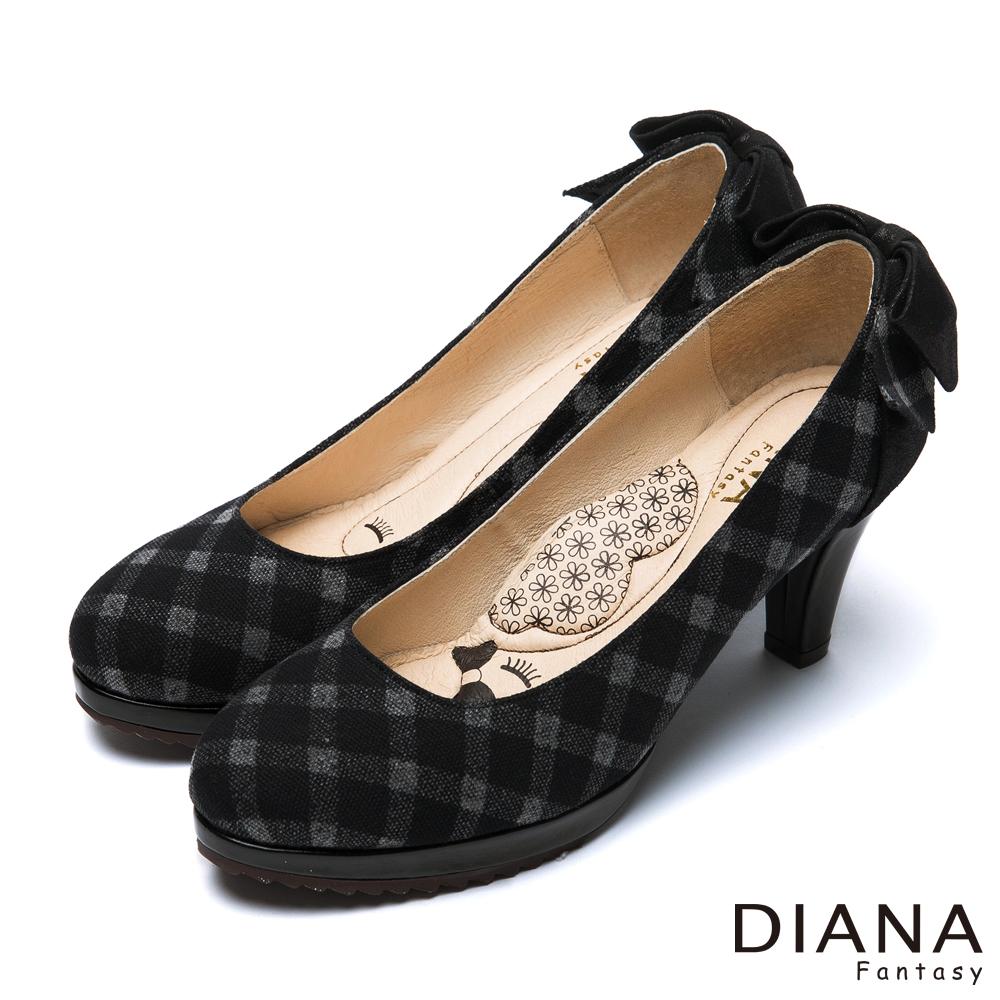 DIANA 超厚切LADY款--花呢格紋布後跟蝴蝶結跟鞋-黑