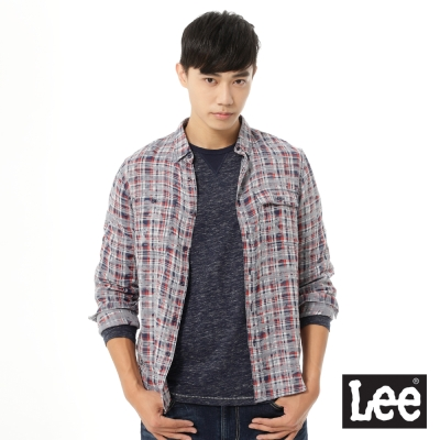 Lee 長袖紅灰格子襯衫UR-男款