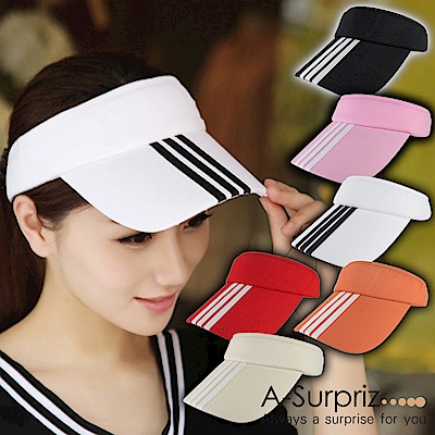 A-Surpriz 純色三條線運動風空頂遮陽帽(6色選)
