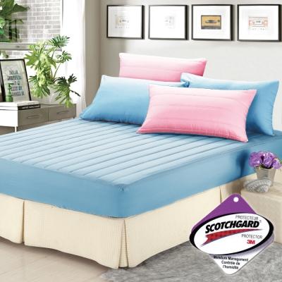 精靈工廠 愛戀Macaron馬卡龍3M吸濕排汗單人兩件式舖棉床包組-甜心粉+天空藍