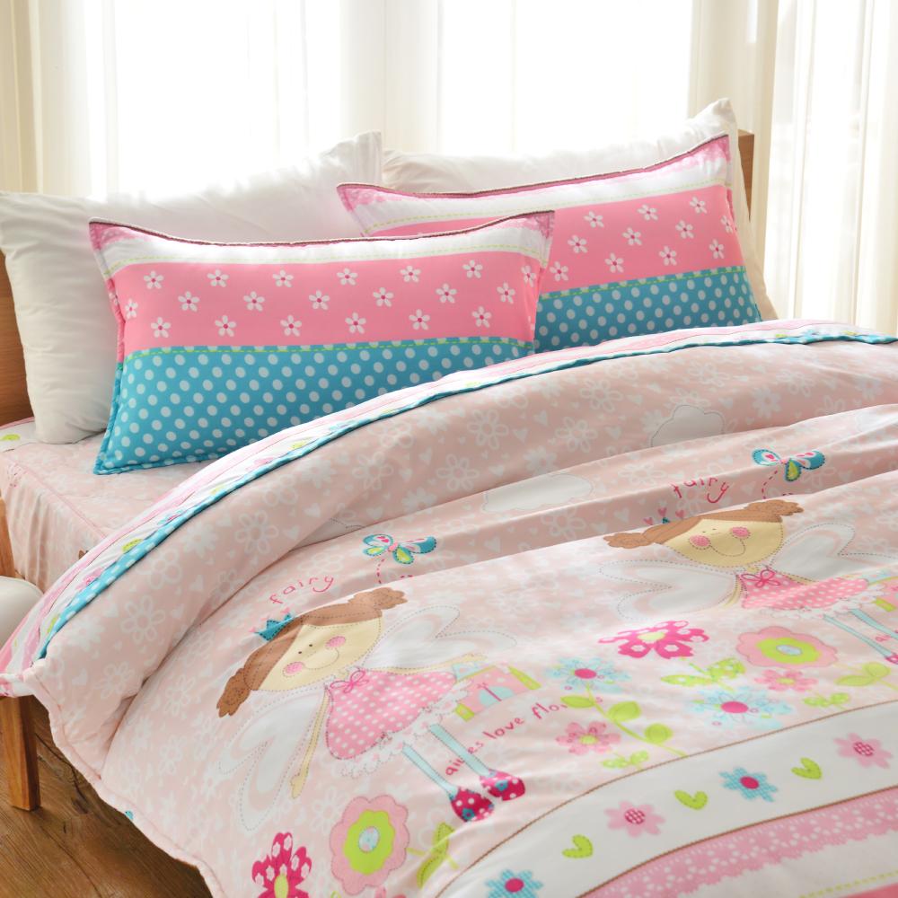 Goelia 可愛蘿莉 加大 活性印染超細纖 全鋪棉床包兩用被四件組