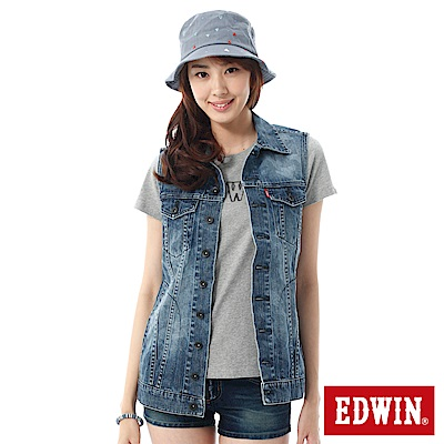EDWIN 口袋牛仔背心-女-漂淺藍