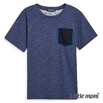 Little moni 素面拼接口袋棉T (2色可選)