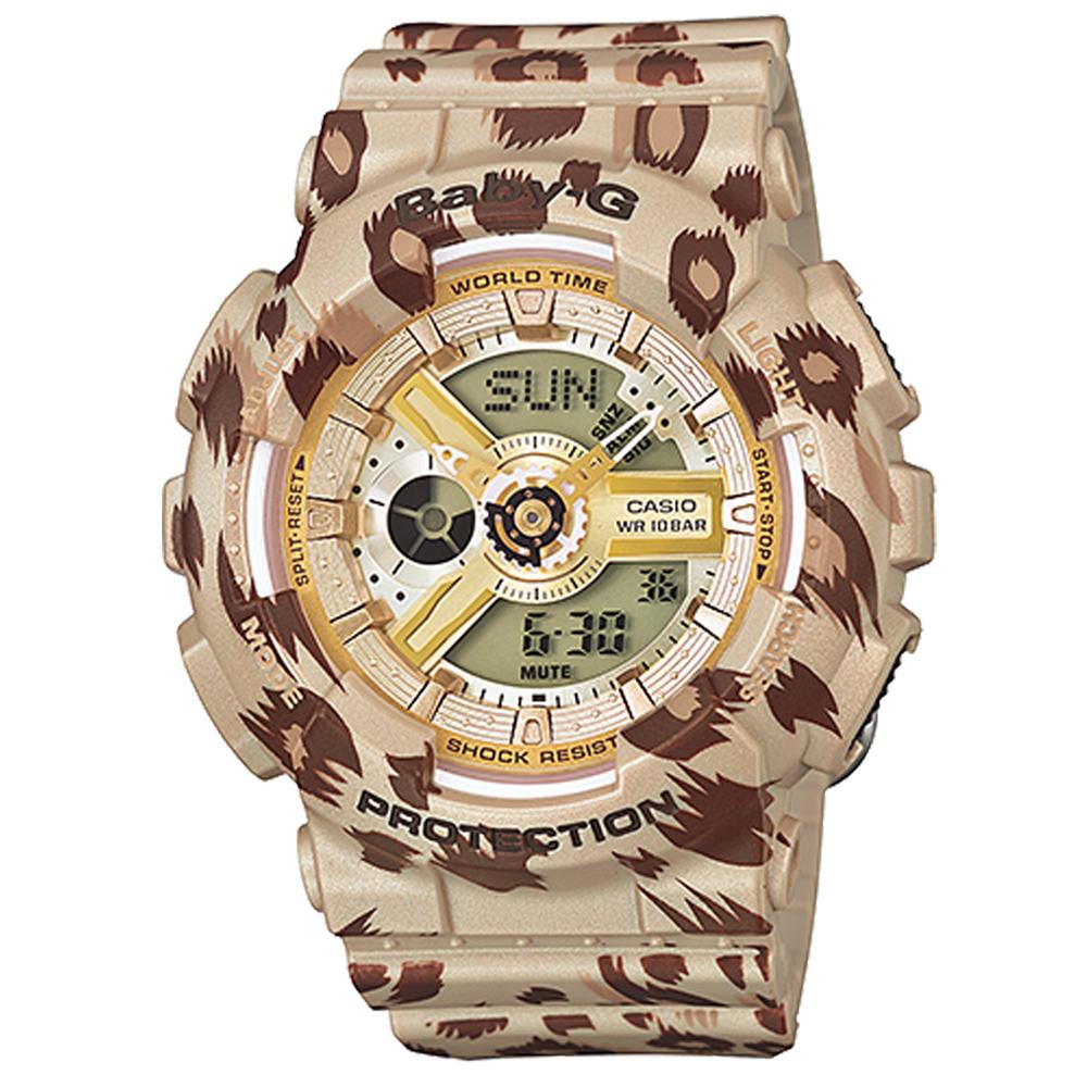 BABY-G 初秋時尚豹紋系列概念休閒錶(BA-110LP-9A)-時尚棕/43.4mm
