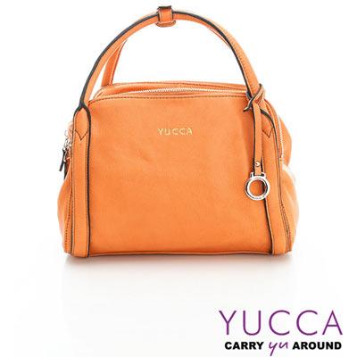 YUCCA - 牛皮立體甜美波士頓包-橘色- D0112013