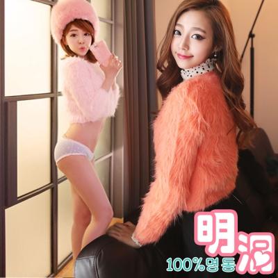 糖果色毛海皮草短版針織衫 (共三色)-100%明洞