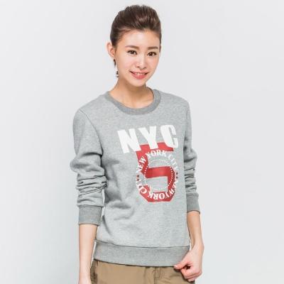FIVE UP(女)- NYC印花刷毛圓領T-淺麻灰