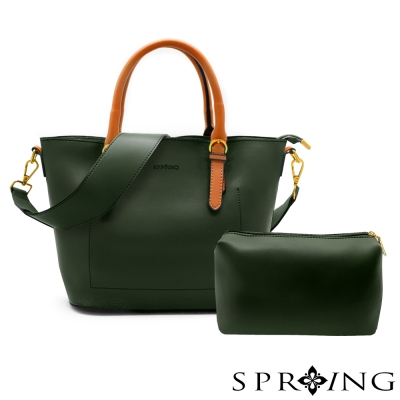 SPRING-令人忌妒的美好真皮托特包/子母包-迷霧綠