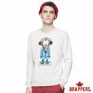 BRAPPERS 男款 Monkey圓領情侶T-淺花灰藍猴