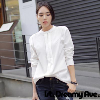 素色小立領排釦長袖襯衫-白色-1st-Dreamy-Ave