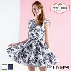 LIYO理優MIT印花V領洋裝(深藍,白)