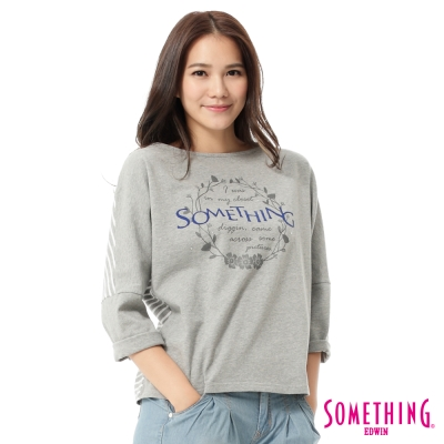SOMETHING-LOGO印花條紋七分袖T恤-女-灰色