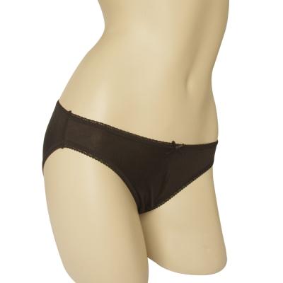 三角褲 100%蠶絲蝴蝶結低腰內褲M-XL(黑) Seraphic