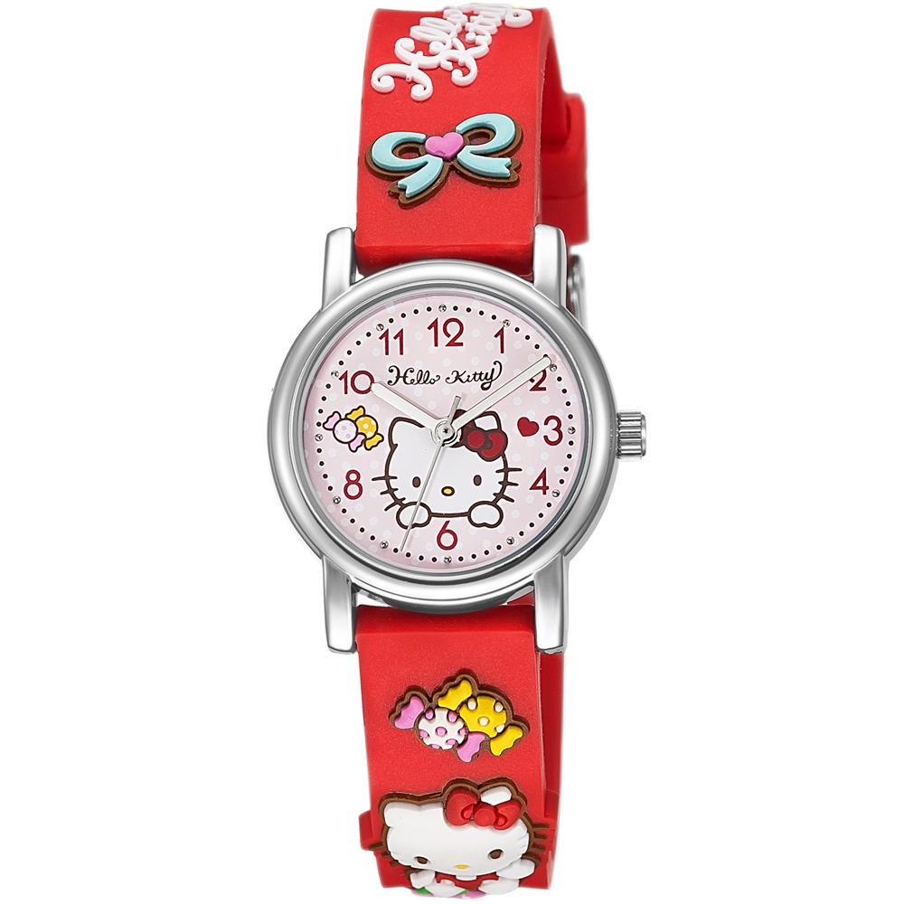 HELLO KITTY 凱蒂貓生動迷人立體圖案手錶-紅/27mm