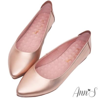 Ann'S溫柔白皮書-頂級小牛皮平底尖頭鞋-玫瑰金