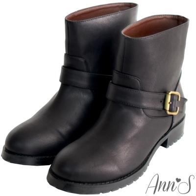 Ann'S率性素面單釦帶小惡魔工程短靴-黑