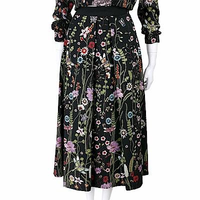 BLUGIRL-FOLIES 花卉刺繡圖騰黑色雪紡打摺裙