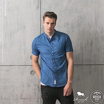 ROUSH 韓版立領牛仔短袖襯衫 (2色)