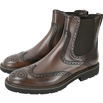 TOD'S 布洛克雕花復古刷色切爾西短靴(男鞋/咖)