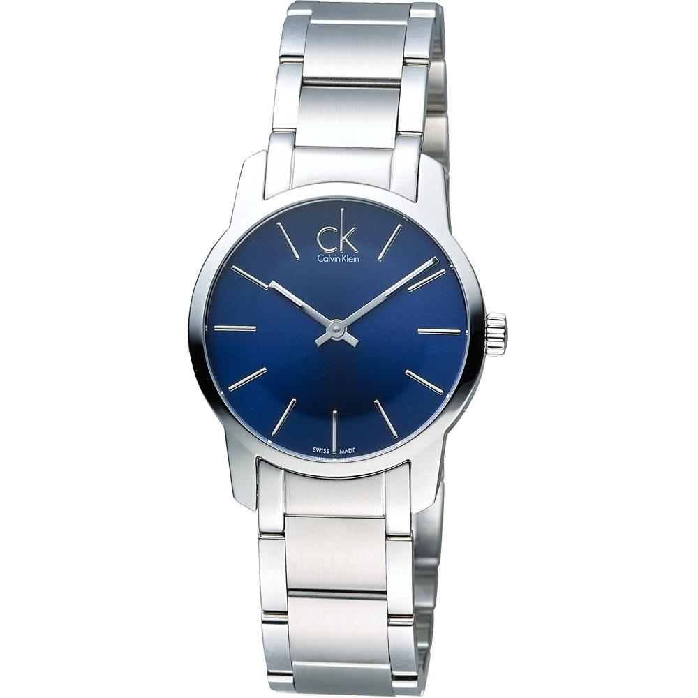 CK Calvin Klein 經典都會時尚女用錶-深藍/31mm