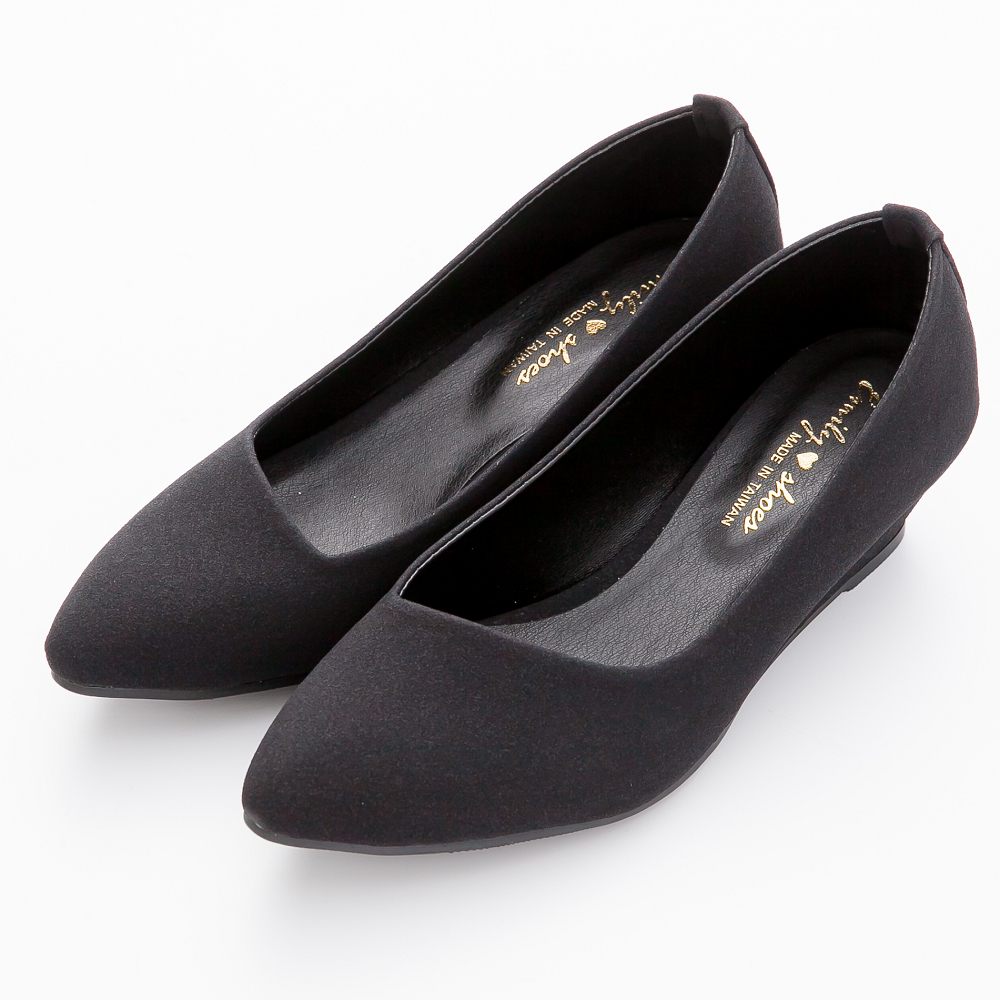 River&Moon尖頭鞋-輕熟知性‧素面斜口楔型尖頭鞋-黑