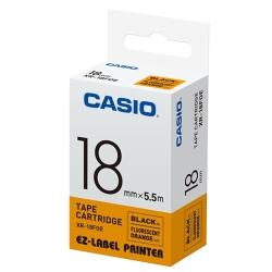 CASIO  標籤機專用特殊色帶-18mm(瑩光色材質)瑩光橘底黑字-XR-18FOE1