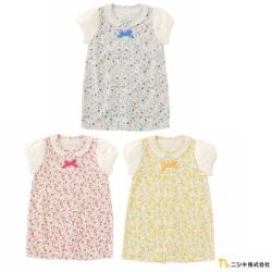Nishiki 日本株式會社 兩穿式翻領蝴蝶領結碎花公主袖連身衣包屁衣