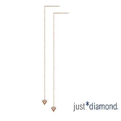 鎮金店 Just Diamond 鑽石玫瑰金 耳環-Triangle