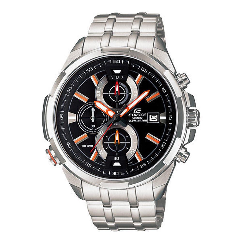 CASIO EDIFICE系列 雙黑光快感奔馳賽車運動錶-橘-46mm