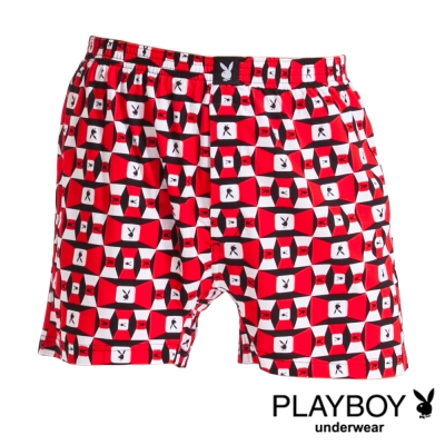 PLAYBOY MIT製LOGO印花精梳棉四角褲-單件(紅底方塊兔)