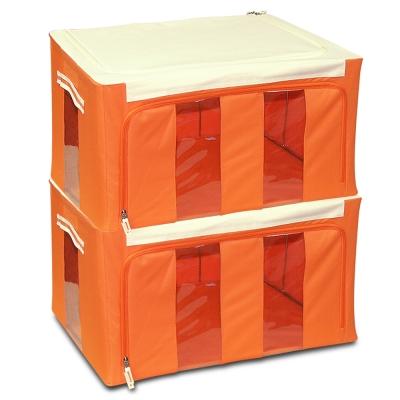 WallyFun 第三代-雙U摺疊收納箱 -橘色58L (超值2入) ~超強荷重200kg