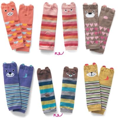 寶寶純棉保暖動物造型護膝襪套 三雙入