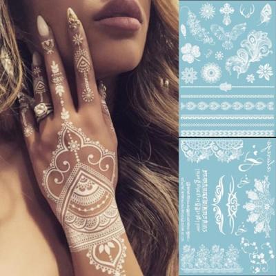 PS-Mall-氣質白色蕾絲紋身貼紙-防水-紋身貼-2入-J1773