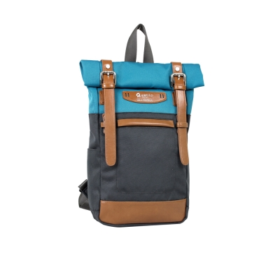 estilo - 時尚玩色系列 撞色設計 單/雙肩兩用包 - 天藍