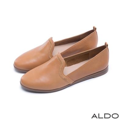 ALDO-北歐風原色真皮鞋面幾何車線樂福鞋-內斂駝色