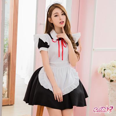 女僕裝 經典黑白配學生女僕角色扮演服三件組(黑+白F) Caelia