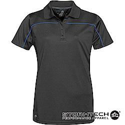 【加拿大STORMTECH】防曬快乾線條立領polo衫IPS-2W-女-黑寶藍