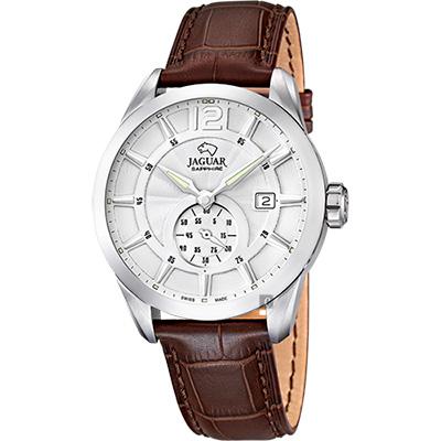JAGUAR ACAMAR 經典小秒針手錶-銀x咖啡/43mm