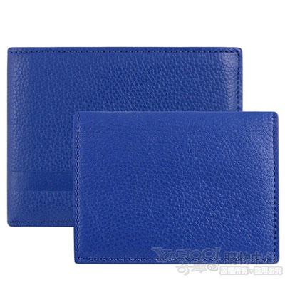 COACH 藍色皮革壓紋短夾+證件夾