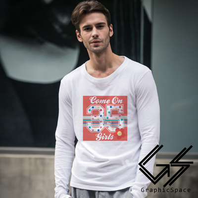 暖色插圖35號磨毛水洗長袖T恤 (共三色)-GraphicSpace
