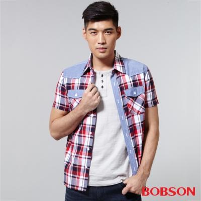 BOBSON  男款配布格子襯衫