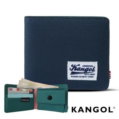 KANGOL 韓式潮流 多夾層/零錢袋橫式短皮夾+鑰匙圈禮盒-帆布拼貼藍